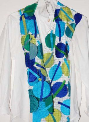 Ulrike Isensee Blue Green Circles & Bars Scarf #396S