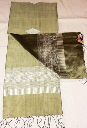 Ock Pop Tok Olive Cultivated Silk Scarf