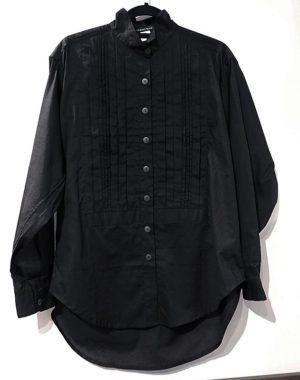 "Char ""VASQUEZ BLACK"" Label Big Pleat Tuxedo Shirt in Black"