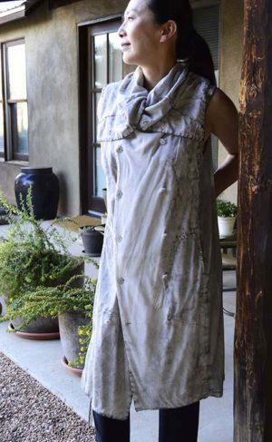 Shinya Seki Shawl Collar Knit Cotton Dress/Tunic Lt Grey