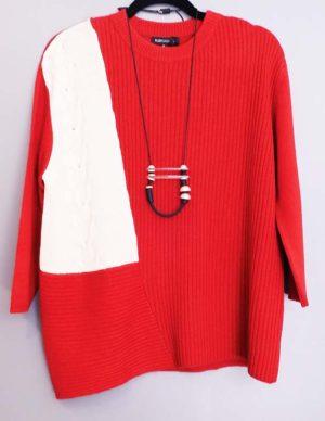Plush Brand Assymmetrical Multi-knit Stitches Cashmere Sweater Red