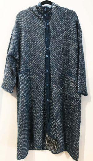 Setsuko Torii Knit Hooded Sweater Blue Teal