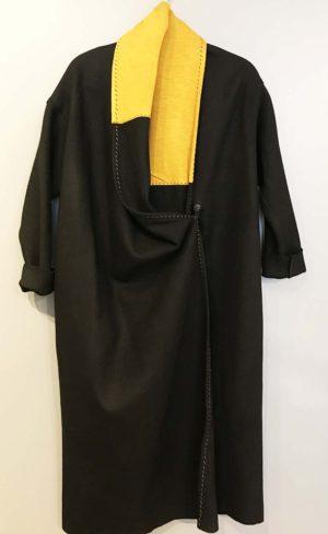 Urban Tribe Black Wool Coat with Ochre Trim