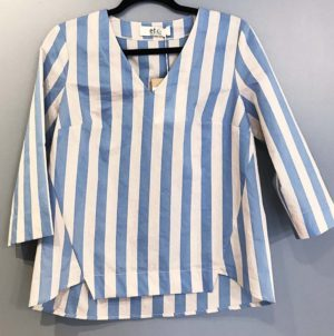 Etici Blue&White&Lurex Stripe V-Neck Top