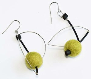 Heike Hutmacher Earrings with Olive Felted Wool Beads