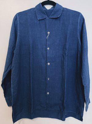 Takarajima Senkou Cotton-Linen Buttondown Shirt Indigo