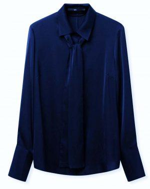 Jarbo Perfect Silk Blouse with Self-Belt Dark Blue